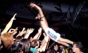 Chris Cornell of Soundgarden, stagediving in 1991.