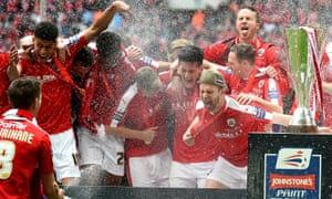 Barnsley celebrate after winning last season's Football League Trophy