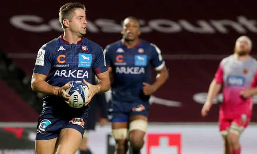 Bordeaux's Argentinian wing Santiago Cordero scores a try against the Dragons in the Champions Cup last month.