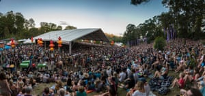 Crowds at the Grande stage. Woodford folk festival brought together 2,500 performers across 25 venues across its 500-acre site.