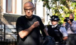 Dominic Cummings departs his home in London