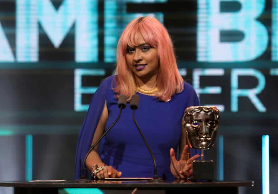 Meghna Jayanth presents an award at the BAFTA Games Awards Ceremony in 2019