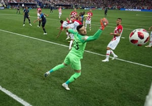 ... Croatia's goalkeeper Danijel Subasic is beaten as the ball flies into the top corner to give France the lead.