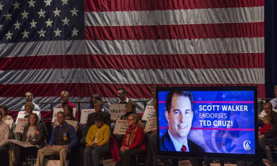 A live radio feed of Governor Scott Walker of Wisconsin's endorsement of Republican presidential candidate Senator Ted Cruz is played before a Cruz rally in Brookfield, Wisconsin.