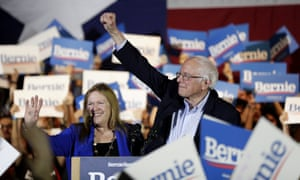 Democratic presidential candidate Bernie Sanders with his wife Jane, speaks during a campaign event in San Antonio on Saturday.