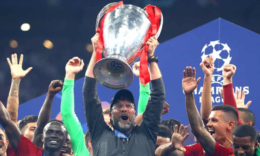 Jürgen Klopp celebrates with the European Cup in Madrid last June. Liverpool return to the Wanda Metropolitano to face Atlético on Tuesday.