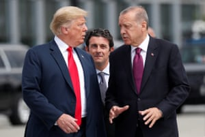 Trump and Erdoğan at the Nato summit in Brussels in July 2018. The strength of the pair's relationship is seen by many as the only reason relations have not yet completely collapsed.