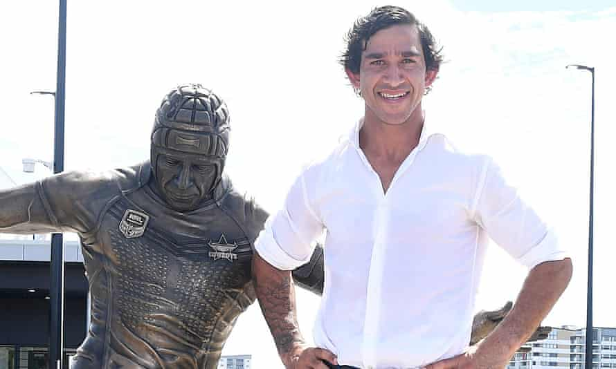 Johnathan Thurston at the unveiling of his statue in Townsville in February