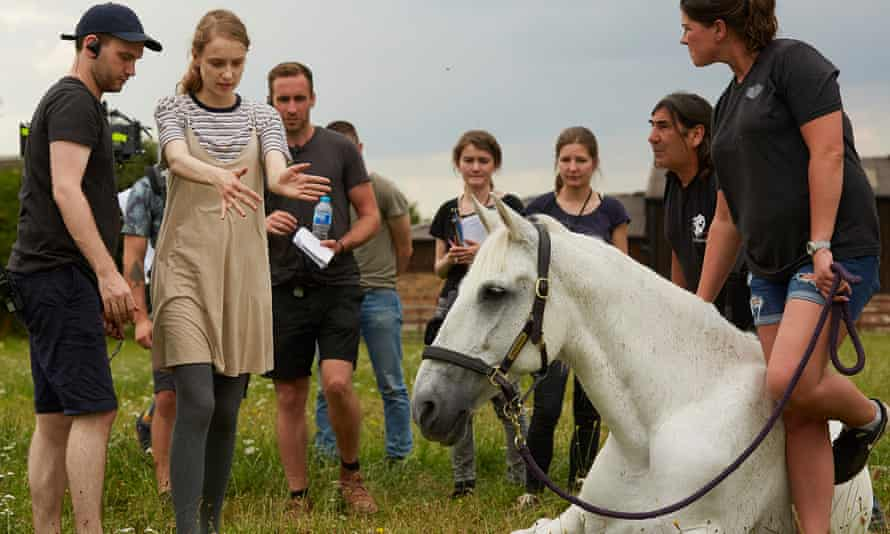 Rory Alexander Stewart, left, filming a scene for short film Wild Horses, which has been selected to compete for a Cannes film festival prize.