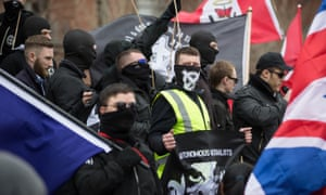 Neo-Nazis from across Europe on the National Action White Man March in Newcastle, in 2015