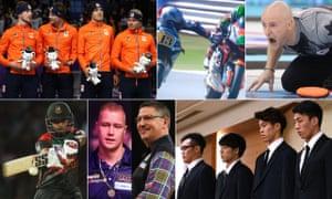 Clockwise from top left: Dutch speed-skaters, Romano Fenati, Ryan Fry, Japan's men's basketball team, Gary Anderson and Wesley Harms, and Sabbir Rahman.