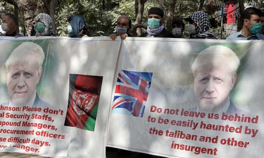 Former British interpreters protest in Kabul last week.