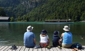 Tourists at a Bavarian lake
