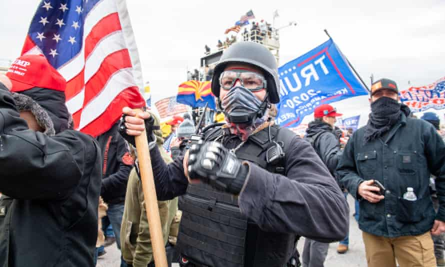 Trump supporters prepare to invade the Capitol as part of the 'Stop The Steal' rally on 6 January.