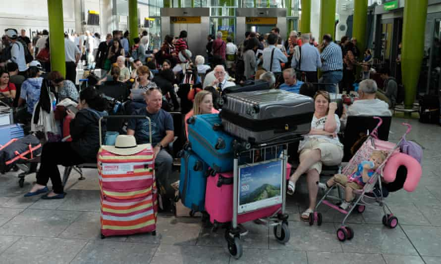 Passengers stuck at the airport after flight delays.