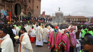 Corpus Christi, a Catholic celebration of the Eucharist, is held a few days before Inti Raymi. In the 1570s the Spanish invaders banned the festival as pagan, replacing it with Corpus Christi.