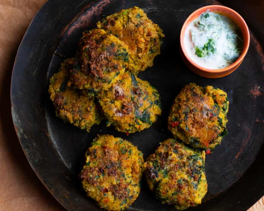 Spinach and Chickpea Cakes by Nigel Slater.