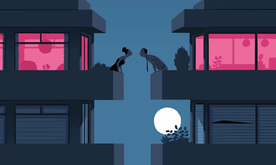 Illustration of couple leaning over balcony for a kiss in front of a full moon