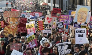 Protesters take to London's streets on the first global Women's March in January 2017.