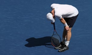 Andy Murray reacts after losing the second set.