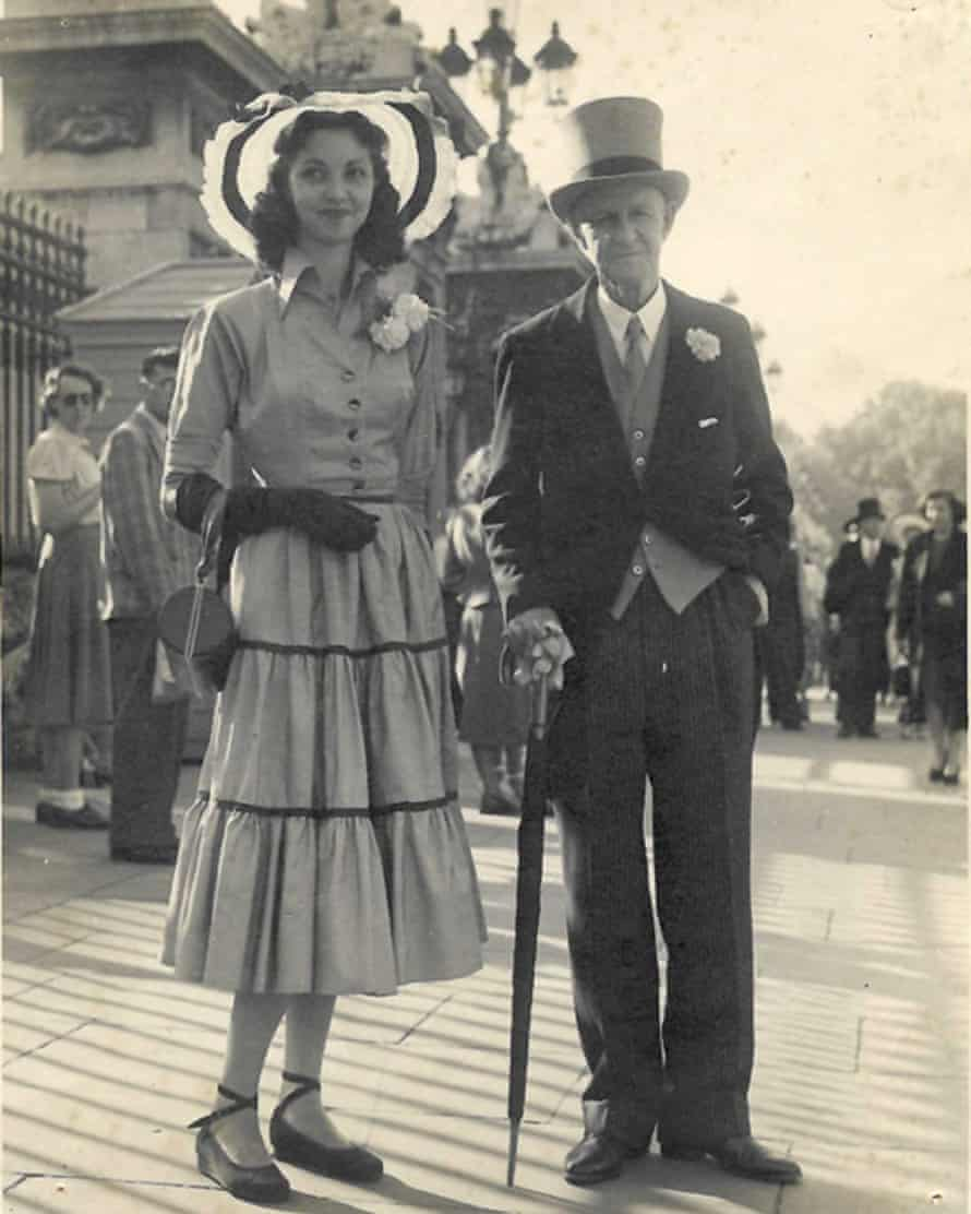Marina's mother, Ilia, and grandfather, Plum Warner, attend a garden party at Buckingham Palace in 1949.