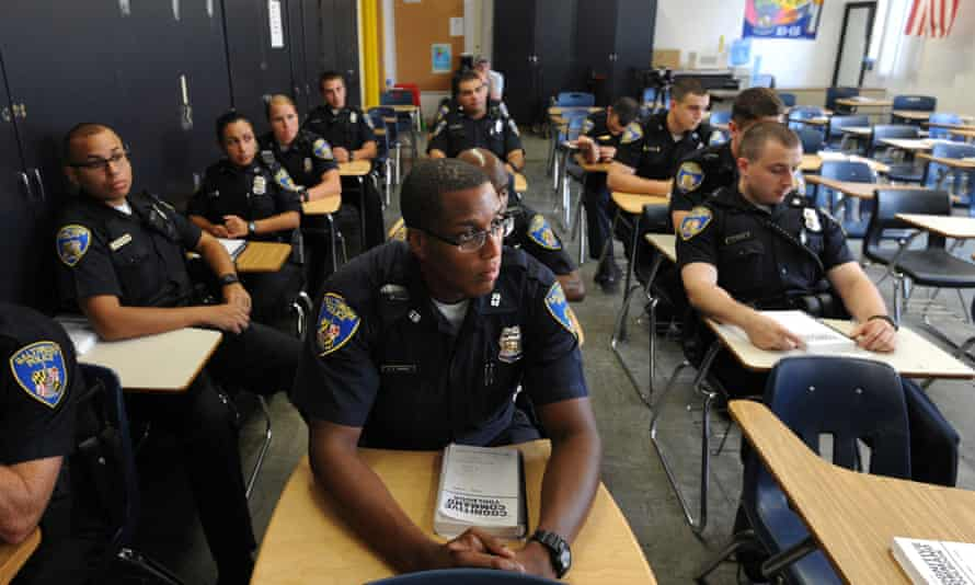 Trainee officers attend the Baltimore city police department professional development and training academy. A consent decree has been credited with bringing critical change to policing in Baltimore.