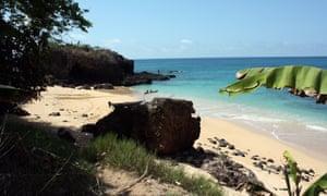 Sun, sea and sand on Lovers' Beach, Annobón island, in Equatorial Guinea.
