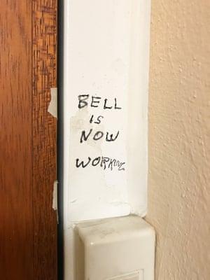 'Bell is now working' written above doorbell