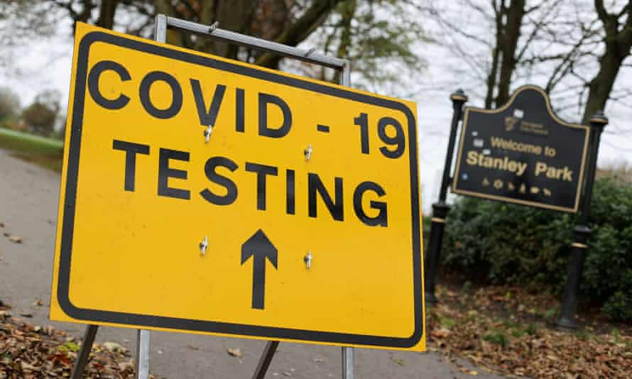 A sign for a Covid test centre in Stanley Park, Liverpool