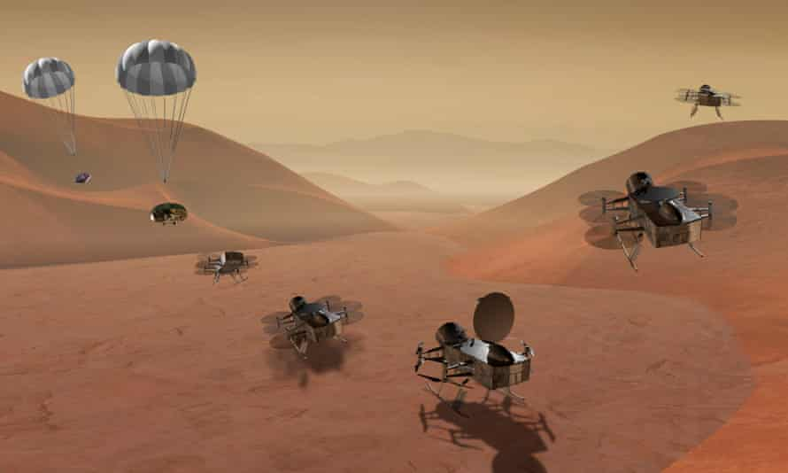 An artist's impression shows the Dragonfly dual-quadcopter lander that would take advantage of the atmosphere on Saturn's moon Titan to explore.