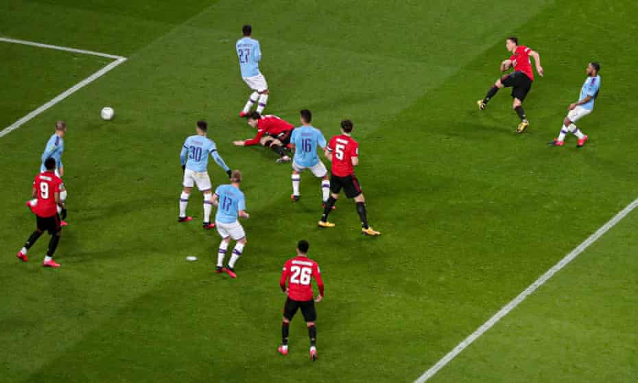 Nemanja Matic, who was sent off in the second half for a second yellow card, opens the scoring for Manchester United at the Etihad.