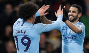 Another match, another win. Leroy Sane celebrates scoring at Watford this week.