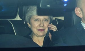 Prime Minister Theresa May leaves thr Houses of Parliament after Tuesday's talks.