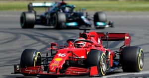 Charles Leclerc leads from Lewis Hamilton.