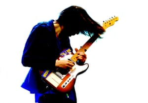 Jonny Greenwood of Radiohead performs at Old Trafford stadium in Manchester, England
