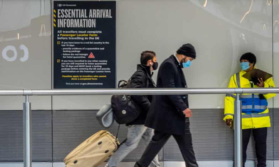 Passengers arrive at Heathrow to face quarantine in hotels on 15 February.
