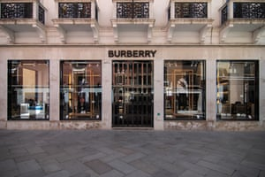 A closed Burberry luxury fashion store in Venice, Italy.