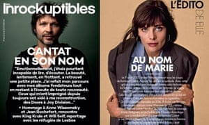 Covers of Les Inrockuptibles featuring Bertrand Cantat prompted a response from Elle magazine for his victim, Marie Trintignant.