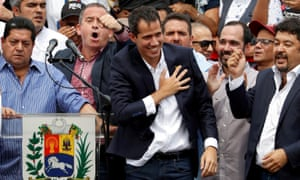 Juan Guaidó reacts during a rally held by his supporters in Caracas, Venezuela, on Monday.