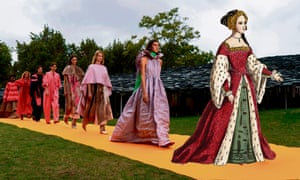 Return of opulence … the Roksanda catwalk with (inset) Anne Boleyn.