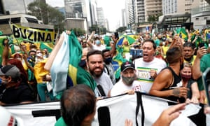 Followers of the Brazilian President Jair Bolsonaro protested in the main cities of the country, such as Sao Paulo, Rio de Janeiro, Brasilia and Belo Horizonte, against the restrictive measures imposed by regional governments to stop the COVID-19 pandemic. EPA/Fernando Bizerra Jr