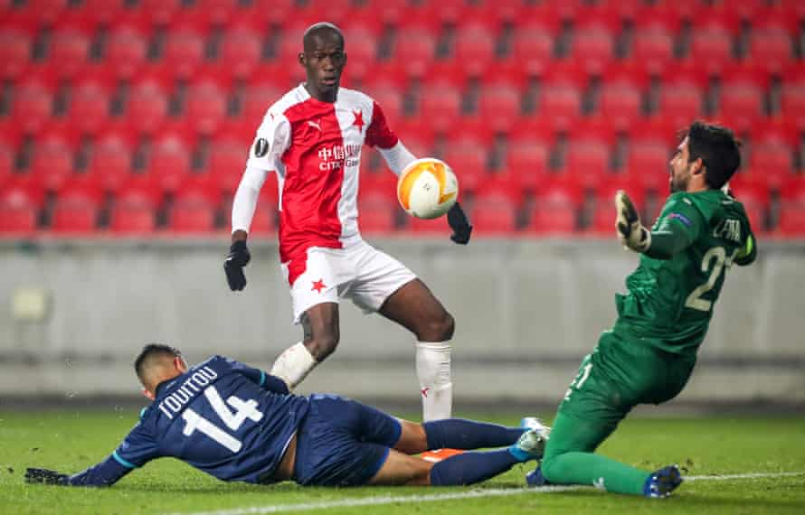 Abdallah Sima scores against Hapoel Be'er Sheva in a Europa League group game this season.