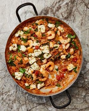 Orzo with prawns, tomato and marinated feta.