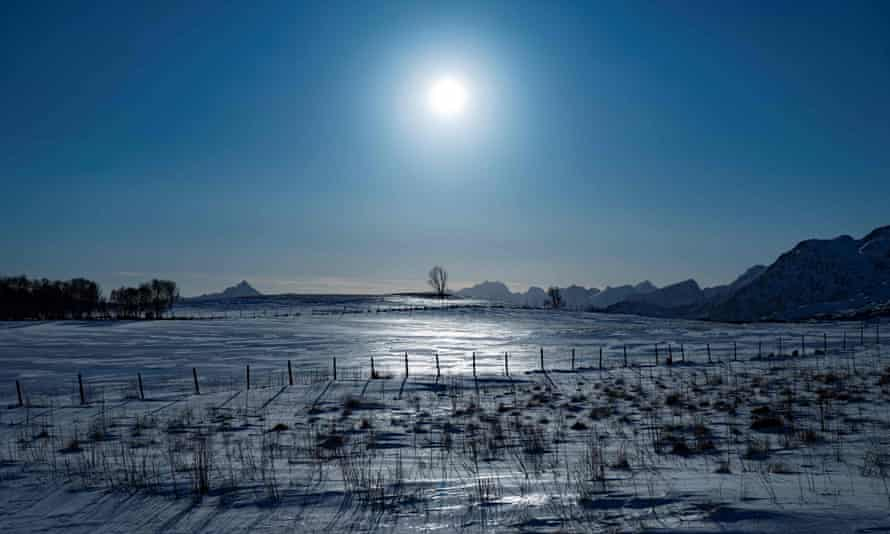 Frozen fields on the Lofoten Islands in the Arctic Circle in northern Norway.