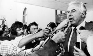 Prime minister Gough Whitlam addresses reporters outside Parliament in 1975 after his dismissal by the Queen's representative.
