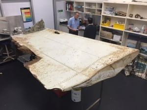 A 2m-long wing flap from MH370, found off Tanzania, was identified by experts in Canberra in September 2016.