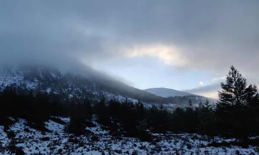 Creag Dhubh in mist.