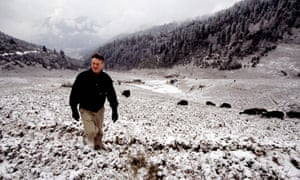 Michael Palin walking in Phobjika valley, Central Bhutan.
