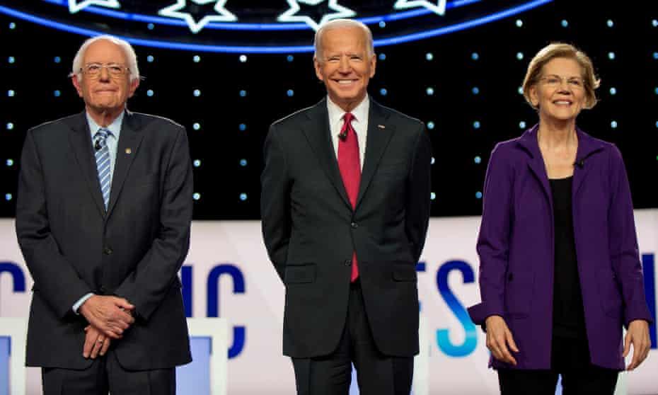 Bernie Sanders, Joe Biden and Elizabeth Warren before the debate in Ohio.