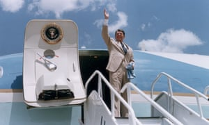 Ronald Reagan prepares to board Air Force One in Alabama, July 1986.